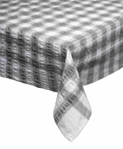 Grey Seersucker Checked Tablecloth 100 % Cotton
